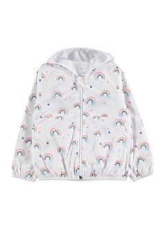 Minik Dolap Gökkuşağı Desenli Kız Çocuk Kapüşonlu Yağmurluk